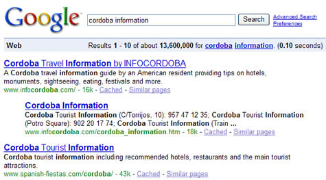 Infocordoba is Cordoba's number 1 English-language website and it shows in Google's search results